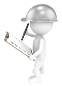 3D little human character The Builder holding a Clip Board and a Pencil. Retro Steel. People series.